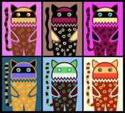 Six colored fantasy cat pattern Stock Photo
