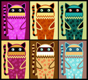 Six colored fantasy cat pattern Royalty Free Stock Photo