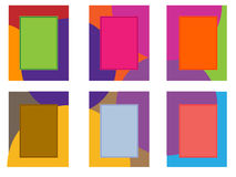 Six colored frames on a white background. Vector illustration collage of six frames with a multi-colored background and colored rectangles with a stroke inside Vector Illustration