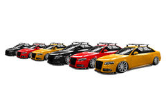 Six colored isolated modern cars Royalty Free Stock Photo