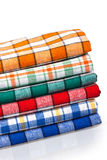 Six colored kitchen towels Stock Images