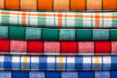 Six colored kitchen towels Royalty Free Stock Photos