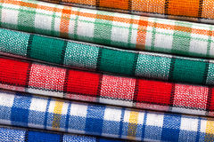 Six colored kitchen towels Royalty Free Stock Photography