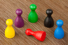 Six colored pawns isolated Stock Photos