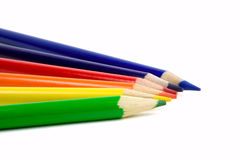 Six colored pencils. On a white background stock images