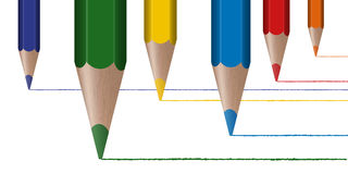 Six colored pencils draw lines Royalty Free Stock Images