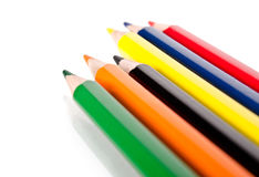 Six colored pencils Royalty Free Stock Image