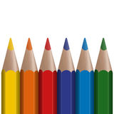 Six colored pens Stock Photography