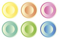 Six colored plastic web buttons stock photography
