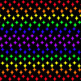 Six-colored rainbow four-pin stars royalty free illustration