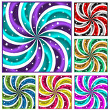 Six colored sunbursts set. Sunburst collection of six different colored abstract swirly sun burst backgrounds and stars stock illustration