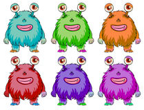 Six colorful aliens Royalty Free Stock Photo