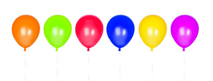 Six colorful balloons inflated. Isolated on white background Royalty Free Stock Photography