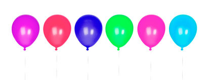 Six colorful balloons inflated. Isolated on white background Stock Photography