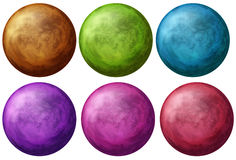 Six colorful balls Stock Photography