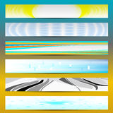 Six colorful banners. Sun, water, windows, strips Royalty Free Stock Photography