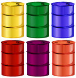 Six colorful barrels Royalty Free Stock Images