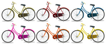 Six colorful bikes Royalty Free Stock Photos