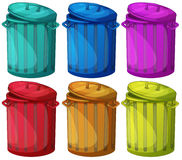 Six colorful bins Royalty Free Stock Photography