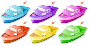 Six colorful boats. Illustration of the six colorful boats on a white background Stock Photos