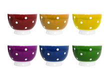 Six colorful bowls on white background Royalty Free Stock Photography