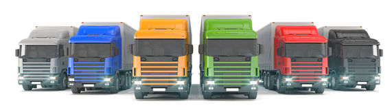 Six colorful cargo trucks parked in a row Stock Photography