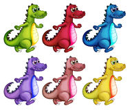 Six colorful crocodiles Royalty Free Stock Photos