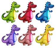 Six colorful crocodiles. Illustration of the six colorful crocodiles on a white background Royalty Free Stock Photos