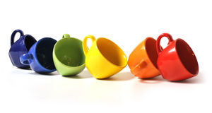 Six colorful cups Stock Photo