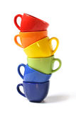 Six colorful cups Stock Images