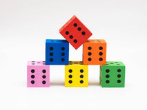 Six colorful dice stock photography