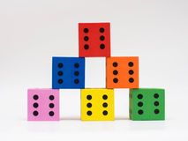 Six colorful dice Royalty Free Stock Photography