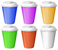 Six colorful disposable cups Stock Photos