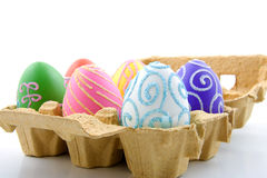 Six colorful easter eggs in box Royalty Free Stock Photos