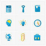 Six Colorful flat education icons set Stock Images