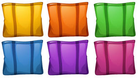 Six colorful food bags Royalty Free Stock Photography