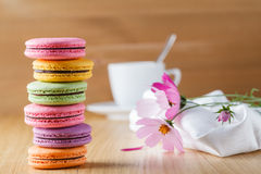 Six colorful french macaron Stock Image