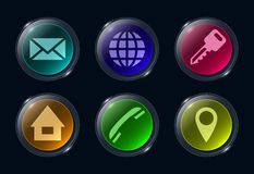 Six colorful glass buttons ui icon. stock illustration