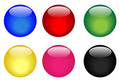 Six colorful glassy buttons. Collection of six illustrated glassy looking buttons (blue, red, green, yellow, pink and black vector illustration
