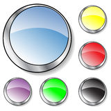 Six colorful glassy buttons. Collection of six vector illustrated glassy looking buttons (blue,purple, yellow, black, red, green vector illustration