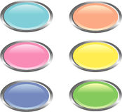 Six colorful glossy web buttons. Set of six oval-shaped web buttons in bright colors Stock Photography