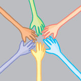 Six colorful hands in cooperation. Cartoon illustration of a group of different hands joining on teamwork vector illustration