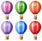Six colorful hot air balloons Royalty Free Stock Photos
