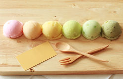 Colorful ice cream with blank card Royalty Free Stock Photo