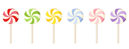 Six colorful lollipops. Stock Images