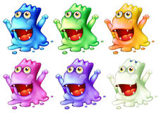 Six colorful monsters Royalty Free Stock Photos