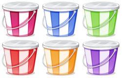 Free Six Colorful Pails Stock Photos - 37891383