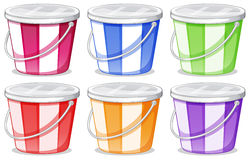 Six colorful pails Stock Photos