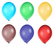 Six colorful party balloons Stock Photography
