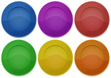 Six colorful round plates. Illustration of the six colorful round plates on a white background Royalty Free Stock Image
